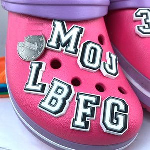 Original JIBZ Children's gift capital letter noctilucence shoe flower toys Cartoon PVC beach shoe accessories for kids