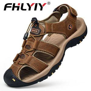 Fhlyiy Brand Man Sandals 2020 Summer Zapatos De Hombre Hot Sale Fashion Casual Beach Sandals Flip Flops Genuine Leather Shoes MX200617