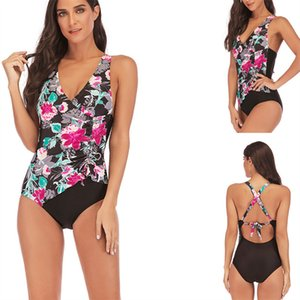 Bkning New 2019 Plus Size Swimsuit One Piece Terno Feminino Sexy Strappy Backless Swiming Floral Imprimir Badpak Grande S 5XL