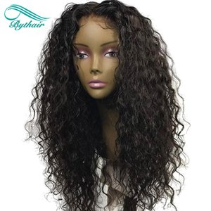 Bythair Human Hair Lace Front Wig Curly Pre-plucked Hairline Deep Curly Full Lace Wig Brazilian Virgin Hair 150% Density Bleached Knots