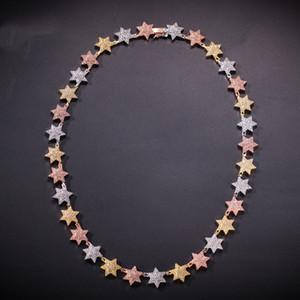 Zircon Hexagonal Star Necklace Rose Gold Silver Collision Star Necklace Pre-venta de moda pulseras de hip hop para hombres y mujeres