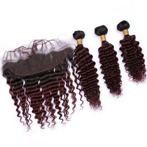 # 1B / 99J Vin rouge Ombre vague profonde malaisienne vierge humaine Bundles cheveux avec Frontal Bourgogne Ombre cheveux Tissages avec 13x4 dentelle Frontal fermeture
