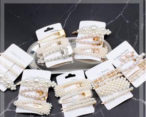 INS Niñas perlas pinza de pelo dulce niños diamantes de imitación BB pasadores boutique niños princesa horquillas diseñador mujeres accesorios para el cabello F10253