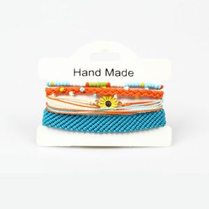 New Bohemian Handmade Flower Bracelets Sets Women 2019 New Rope Braccialetti Retro Gioielli Accessori Evil Eye Eye Lucky Hamsa Braccialetto