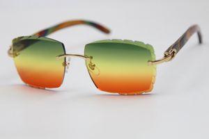 Kadınların tavus ahşap C Dekorasyon altın çerçeve gözlük sürüş Mercek Gözlük Gümüş mor Brown Lens açık havada oyma popüler 3524012 Sunglasses