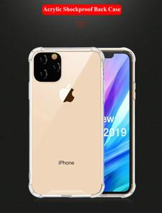 Para iPhone 11 Pro Max XR Nota 10 Pro transparente à prova de choque Acrílico híbrido Quadro Armadura Bumper macio TPU PC Hard Case Voltar