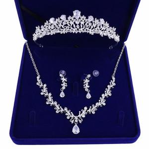Wholesale Women's X2021dh bride jewelry wedding necklace crown three-piece gift box for new headdress wedding dress accessories