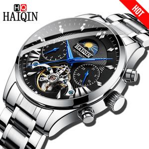 HAIQIN luxo Homens Casuais Relógio Mecânico Automático clássico Bussiness Tourbillon Relógio de Pulso À Prova D 'Água Masculino Relogio C19010401