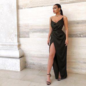 2020 Sweetheart Long Prom Dresses Backless Front Side Split Ruched Floor Length Formal Evening Dress vestidos de fiesta