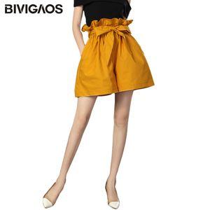 BIVIGAOS 2020 New Summer Bud High Waist Shorts Yellow Elastic Loose Casual Short Skirt Thin Slim A-line Wide Leg Shorts Women