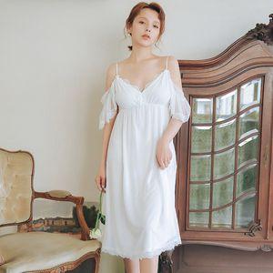 2020 Vintage Sleep Lounge Butterfly Sleeve Laced Ruffle Night Dress Summer Sleepwear Cotton Organza Loose Long Nightdress