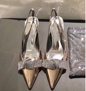 zapatos de la boda del cuero de patente de metal nupcial con cristal bowtie los zapatos del diseñador talones del gatito bombas de plata tamaño 6cm oro 34 a 40 CS07 s6