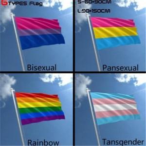 90 * 150cm Gökkuşağı Bayrağı Gökkuşağı Pride Gay Bayrak Banner Bayrağı İki Metal Grometler Flagpole LGBT ücretsiz kargo ile% 100 polyester