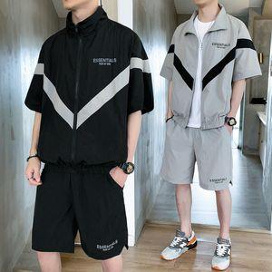 Moda Erkek eşofman 2020 Yaz Yeni Erkek Tide İnce Kasetli İki parça Suit Casual Erkekler Aktif Gevşek Eşofman 2 Renkler Boyut M-3XL