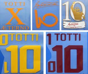 Retro Roma weiß Druck Fußball Nameset # 10 TOTTI Fußballspieler Heißprägen gelben Buchstaben gedruckt Vintage Kunststoff roten Fußball-Aufkleber
