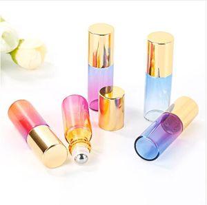 5 ML Degrade Renk Buzlanma Cam Esansiyel Yağı Boş Parfüm Şişesi Rulo Topu Seyahat Kullanımı Gerekli Malzemeler Dayanıklı Altın Kafa
