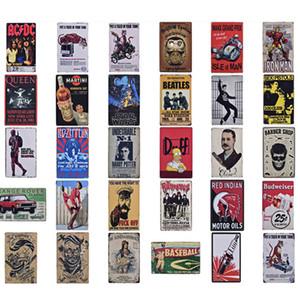 Carteles de película de cine placa de metal Tin Signs Vintage Cafe Bar Cine decoración retro etiqueta de la pared Pintura JK2006KD