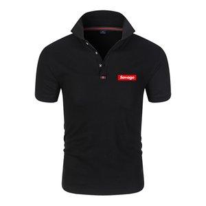 camiseta de la camisa de solapa de manga corta del polo de 2020 nuevos hombres de la moda salvaje impreso POLO de pie cuello alto salvaje superior ocasional del algodón