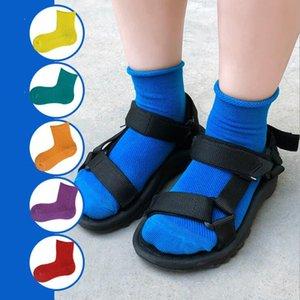 1-12T C1547 için Çocuk Pamuk Çorap Yumuşak Nefes Rahat Bebek Çocuk Çorap çorap Katı Casual Kız Erkek Moda Renkli Çorap