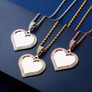 DIY Hip Hop Men Women Designer Necklaces Luxury Bling Zircon 18K Gold Rhodium Plated Love Heart Photo Necklace