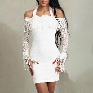 Fashion-Womens Платье Вышивка Кружева Белое Платье Женщины Bodycon Партия Сексуальные Платья Лепесток Рукава Прозрачный Мини Элегантное Платье Vestidos