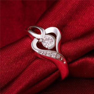 هدية عيد الميلاد القلب الاسترليني الفضة مطلي الدائري 925 فضة لوحة تصميم جديد خواتم الاصبع لسيدة R153