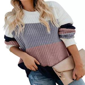 Мода Роскошная Женщины свитер Stripe Crew Neck Водолазка Шерстяной свитер для женщин вскользь теплая одежда Fit Благодаря Давать день
