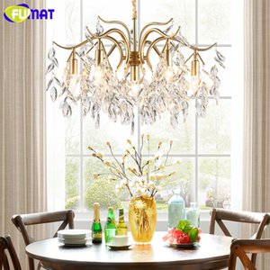 FUMAT American Crystal Chandelier Oro Metallo Vintage Pastral Crystal Light per soggiorno Sala da pranzo LED Crystal Chandeliler