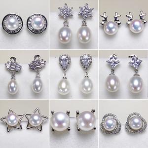 De água doce cultivadas pérola Brincos para Mulheres 925 Dangle Earring 7-8mm Oblatos brincos de pérola por Mulheres presente de casamento