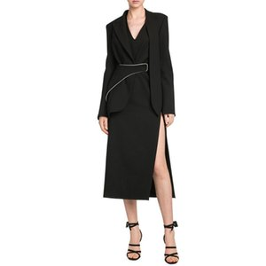 Luxury Womens Designer Suit Jackets with Sashes Elegant Temperament Solid Color Slim Long Sleeved Lapel Neck X-Long Fashion Womens Jackets