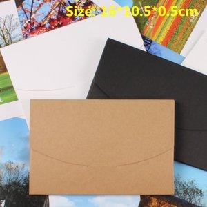 50pcs lot-16*10.5*0.5cm Blank Black White Kraft Paper Envelope Postcards Greeting Card Cover Photo Packaging Boxes