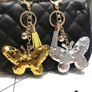Kadınlar Araç Çanta Aksesuar Anahtarlık Düğün Souvenir için 15pcs / Lot Sevimli Kelebek Anahtarlık Glitter Ponpon Pullarda Anahtarlık Hediye