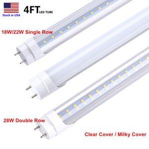 4FT luzes LED 4 FT T8 22W LED tubos de luz SMD 2835 Tubo LED T8 G13 tubo fluorescente Lâmpada AC85-265V