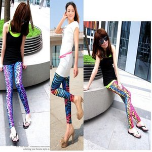 Hand-painted color leopard print large Milk silk Nine pants nine pants size elastic milk silk nine-point leggings