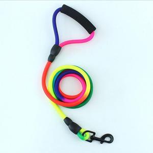 Nylon durable del arco iris 120cm perro de mascota correa caminar con correa Formación Gatos Perros arnés del cuello de la correa de cinturón de cuerda Correas