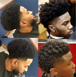Celebridade Toupee Mens Hairpieces Afro Curl Cull Lace Toupee Brown Color Preto Peruano Remy Cabelo Humano Homens Solução de Cabelo para Homens negros