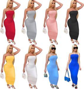 Designer Femmes Maxi Robes longues Mode Encolure sans manches imprimé Pull de couleur unie S-2XL Vêtements d'été Taille Plus 8817
