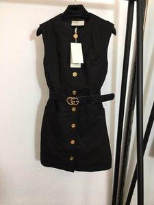 High-End-Frauen Mädchen cady Weste Doppel Buchstabegurt Hemdkleid Patchwork Einreiher Ärmel a-Linie Rock milan Mode-Design Kleider