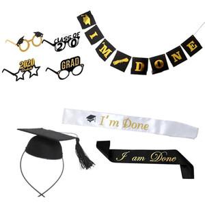 1Set 8Pcs Graduation Celebrating Glasses in Four Styles Doctoral Cap Flag String Shoulder Girdle