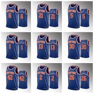 2020 Nueva YorkKnicksHombres Julius Randle azul Jersey R. J. Barrett Bobby Portis Elfrid Payton Mitchell Robinson Noah Vonleh