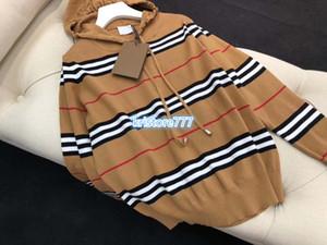 высокого класса пользовательские женские девушки свободные капюшоном вязать пуловер рубашки панелями куртка топ свитер стрейч вискоза вязаный полосатый свитер топы