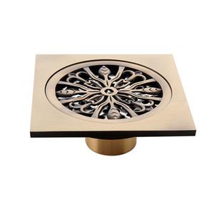 Sifonları 10 * 10 cm Prinç Altın Duş Drenaj Banyo Kare Kapak Anti-koku Saç Süzgeç Balkon Zemin drenaj