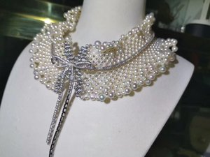 düğün ince kadın takı SH190927 için% 100 gerçek tatlı su inci kolye dantel 925 gümüş ilmek gerdanlık kolye