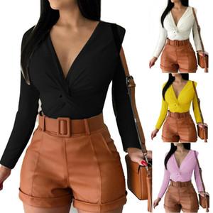 Les nouvelles femmes col en V Tie design Tops manches longues Slim d'hiver T-shirts Blouses