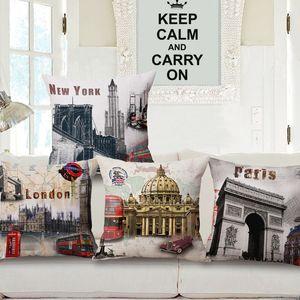 4 Stili Cuscini Cuscini Vintage City Vintage Retro City Cuscino Cuscino Lino Decorativo London Paris New York