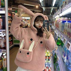 EACHIN Kadınlar Sıcak sevimli tavşan Kapüşonlular Grils Uzun Kollu Moda Güzel Tavşan Çanta Kapşonlu Kadın Kış Gevşek Casual Tişörtü T200618