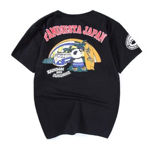 2018 men's Blazer panda cartoon short sleeve Palm Beach BF Harajuku T-shirt summer wind