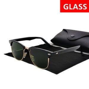 Primera marca gafas de sol calientes de la venta del medio capítulo de las gafas de sol de cristal Hombres Mujeres Gafas de sol Gafas de conducción al aire libre Uv400 Gafas Caso Negro Con