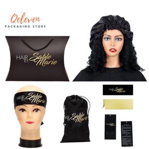 Negro de encargo Virgen haz de pelo Empaquetado Sistema de satén de los bolsos / EDGE bufanda principal / etiqueta de la caída del pelo / Sticker Bundle Wraps / cubiertas para la peluca