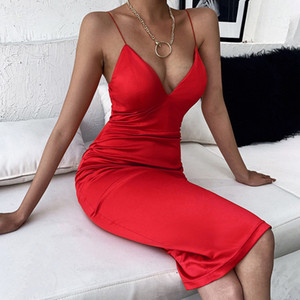 20SS femmes Designer Spaghetti sexy Robes de mode Bracelet col en V Slim Midi Robes Robes Femmes Nouvel Arrivage